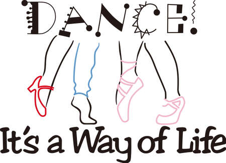 own: Dance in your own style with this colorful collection of dancin feet.  Inspiring text comes along to create a perfect wall hanging.