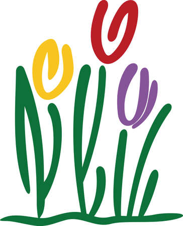 flair: Add some floral flair and an artistic touch with these tulips in abstract.  Bright colors make this design simply irresistible. Illustration