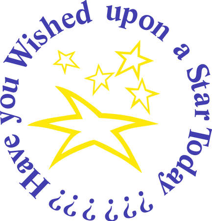 script writing: Be a shining star and sparkle everywhere you go.  Make it happen with these shining stars on shirts, bags or jackets!  Perfect for star athletes! Illustration