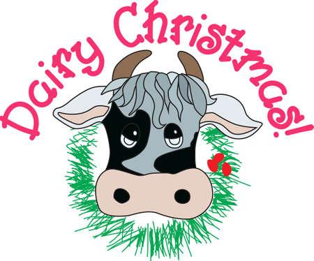 Voeg wat land charme aan de vakantie met dit zeer unieke Kerstmis koe. Een zeker vuur hit voor elk land meisje of land meisje in hart! Stockfoto - 51207492