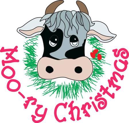 Voeg wat land charme aan de vakantie met dit zeer unieke Kerstmis koe. Een zeker vuur hit voor elk land meisje of land meisje in hart! Stock Illustratie