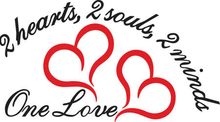 Trendy lines create the perfect heart.  Celebrate the perfect love with these two hearts.  Great for weddings and engagements. Ilustração