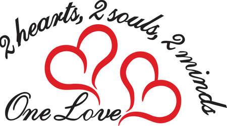 Trendy Linien schaffen die perfekte Herz. Feiern Sie die perfekte Liebe mit diesen zwei Herzen. Groß für Hochzeiten und Verlobungen.