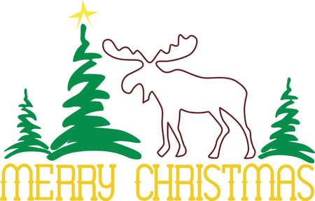 conifers: moose, wapiti, animal, mammal, deer, wildlife, outline, plant, tree, pine, conifer, evergreen, merry christmas, xmas, holiday
