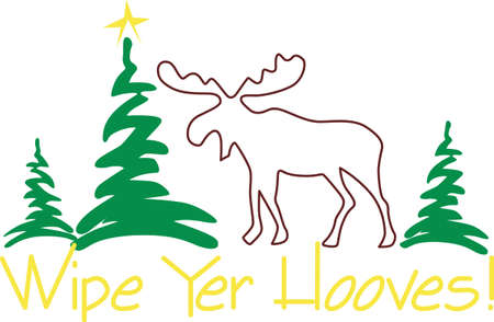 conifer: moose, wapiti, animal, mammal, deer, wildlife, outline, plant, tree, pine, conifer, evergreen, merry christmas, xmas, holiday