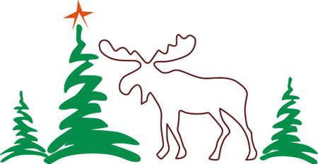 moose, wapiti, animal, mammal, deer, wildlife, outline, plant, tree, pine, conifer, evergreen, merry christmas, xmas, holiday