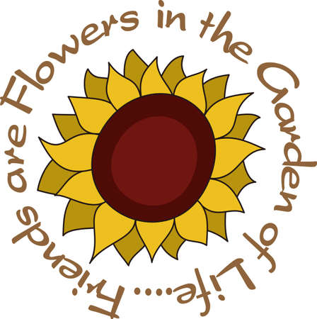 own: This big sunflower adds its own kind of sunshine to the garden.  It is a perfect decoration for a garden flag.