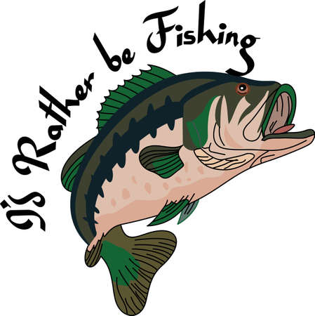 sea bass: Time for fishing!  This striped bass is the catch of the day.  He is an amazing way to add fishing fun to bags, hats, and apparel.