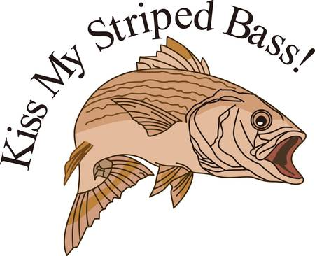 Time for fishing!  This striped bass is the catch of the day.  He is an amazing way to add fishing fun to bags, hats, and apparel.