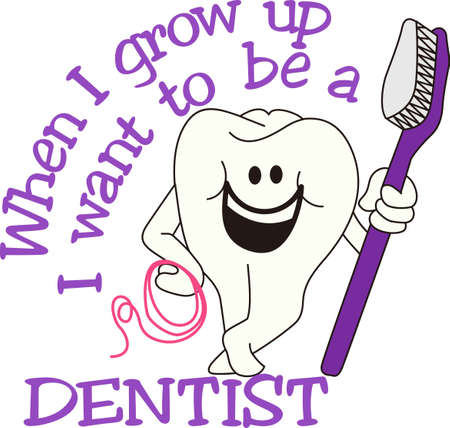 Brush and floss every day for happy teeth!  Super cute design for a scrub top for the dental professional. Stock fotó - 51207829