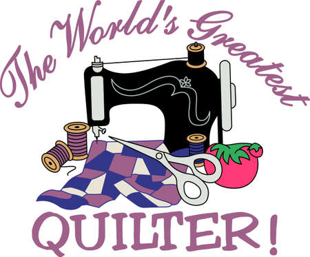 A vintage sewing machine turns out lovely treasures.  For quilters or sewers, a lovely decoration for a notion box. Banco de Imagens - 51207857