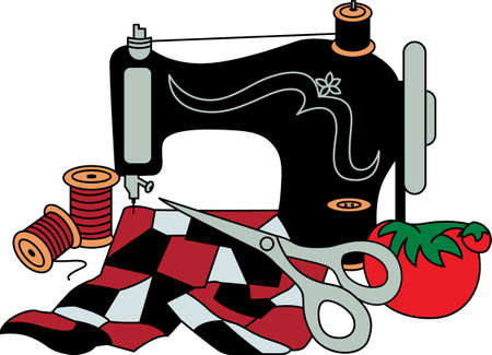 A vintage sewing machine turns out lovely treasures.  For quilters or sewers, a lovely decoration for a notion box.
