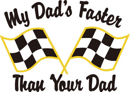 Take the checkered flag and see how fast you can go!  Create something fun for a very special race fan on race day.  Perfect on knit shirts. 向量圖像