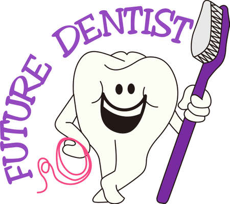 scrub: Brush and floss every day for happy teeth!  Super cute design for a scrub top for the dental professional. Illustration