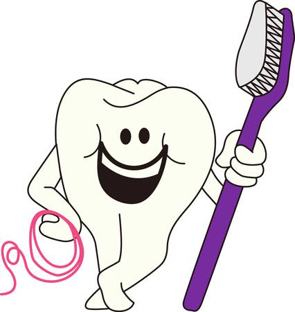 Brush and floss every day for happy teeth!  Super cute design for a scrub top for the dental professional. Ilustração