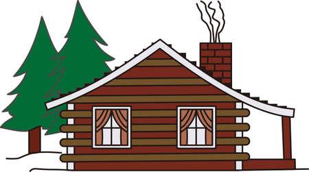 我が家は森の中のキャビンです。 このデザインは、キャンプ、野外活動のための作品を素朴な魅力をもたらします。