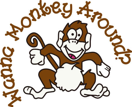 gorillas: A happy little monkey is just what you need to complete the jungle theme.  Great for shirts or even diaper covers - adds a happy smile. Illustration