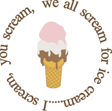 I scream, you scream, we all scream for ice cream!  A super fun design for bibs or napkins. Çizim