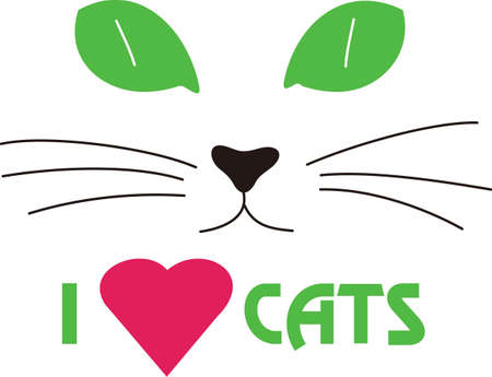 kitty cat: A kitty face with big green eyes is a sure fire fav for any cat lover.  Create a jacket or a throw pillow - great gift idea. Illustration