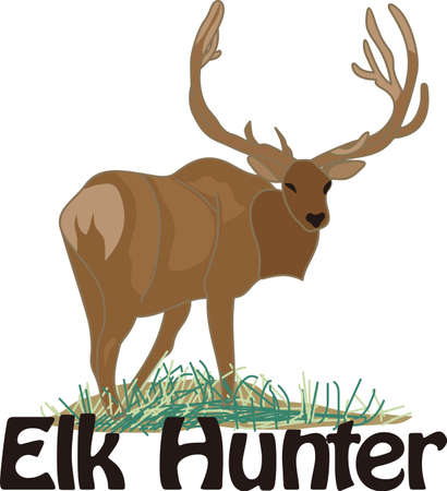 possession: A hunters prize awaits with this majestic elk.  Give your hunter a prized possession with this lovely design featured on a hunters coat or shirt.
