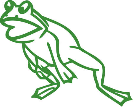amphibian: Our frog outline is ready to leap onto your creative projects.  Try him on boys backpacks, shirts the outline design makes this design super simple to stitch.