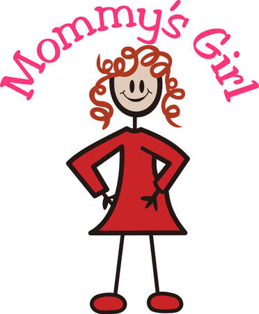 A curly haired stick girl is a the perfect addition to create a complete family.  She is also so cute by herself to decorate a gift for your curly haired sweetheart. Illusztráció