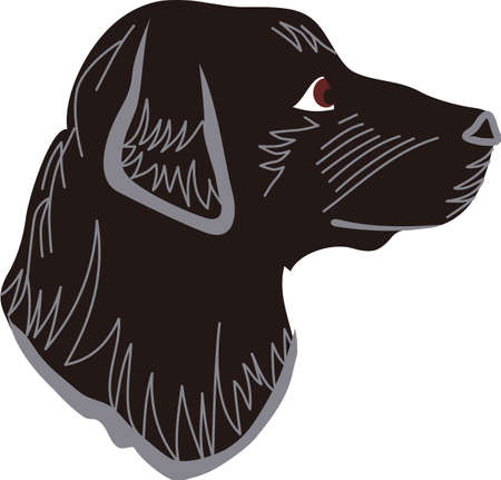 이 검은 색 실험실은 개 애호가가 좋아하는 곳입니다. 이 충직 한 동반자는 셔츠, 재킷 또는 가정 용품에 사랑스러운 장식입니다. 일러스트