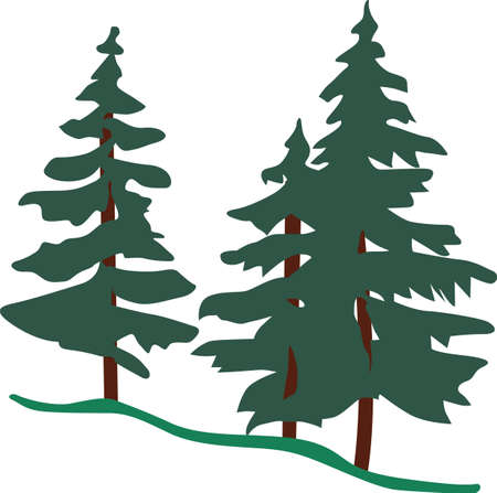 Stately evergreens take your thoughts to a place of cool fragrant breezes.  These stately trees are a lovely way to decorate winter wear.