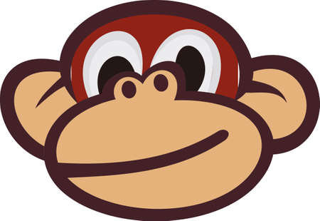 chimp: Need to create something sure to make a smile - weve got a happy face for you!  Our smiling monkey face s sure to be a hit wherever it is used. Illustration