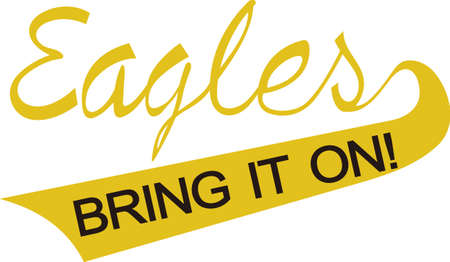 stitching: Show some Eagle pride with spirit wear displaying this sporting logo.  Great for vinyl cuts or stitching.
