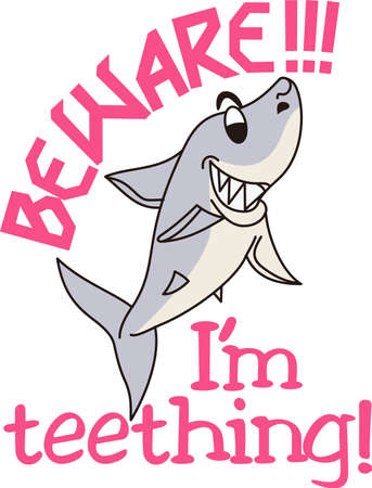 adds: Our smiling, toothy shark adds a fun flair to beach gear or swim towels.