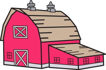 농장은 당신을 위해 삶을 살고 있습니까? 그렇다면 헛간을 가져야합니다! 이 붉은 헛간은 농부의 재킷이나 모자에 딱 맞습니다. 스톡 콘텐츠 - 51209498
