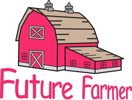 농장은 당신을 위해 삶을 살고 있습니까? 그렇다면 헛간을 가져야합니다! 이 붉은 헛간은 농부의 재킷이나 모자에 딱 맞습니다. 스톡 콘텐츠 - 51209490