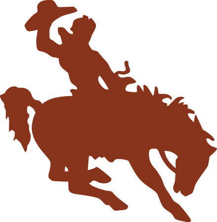 Lets rodeo!  This cowboy on a buckin bronco is a perfect silhouette to add some cowboy charm to your creations Иллюстрация