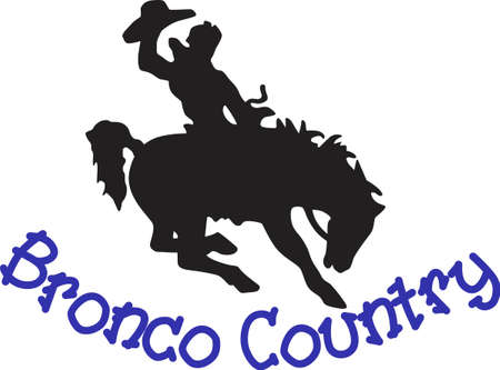 bronco: Lets rodeo!  This cowboy on a buckin bronco is a perfect silhouette to add some cowboy charm to your creations Illustration