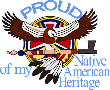 Add Native American culture with this traditional eagle design.  Amazing art for jacket backs! 向量圖像