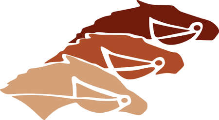 trio: A trio of thoroughbred faces adds equestrian magic to your work.  This trio is absolutely stunning on a saddle blanket or riding cap. Illustration