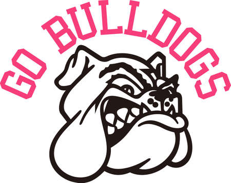 Show some Bulldog spirit with this fierce logo.  Great for game day wear. Ilustração