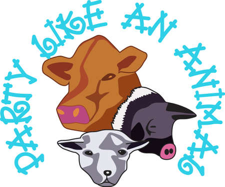Farm life has lots of animals! Sheep, pigs and cows are farm favorites and create a special farm themed creation that's great for gifting.  イラスト・ベクター素材