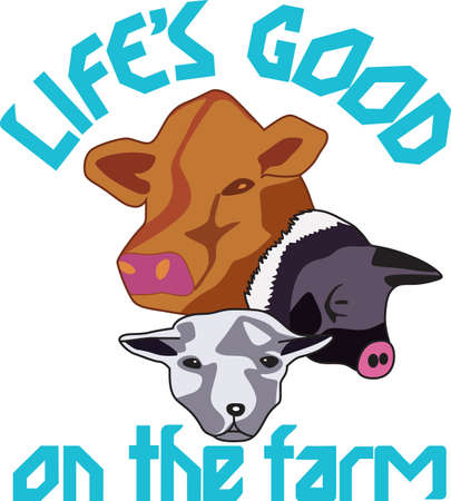 Farm life has lots of animals! Sheep, pigs and cows are farm favorites and create a special farm themed creation thats great for gifting. Illustration