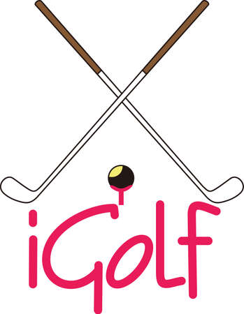 golf iron: Golf is a fun life sport taking years to master.  Add this image to a towel for your favorite player.  They will love it! Illustration