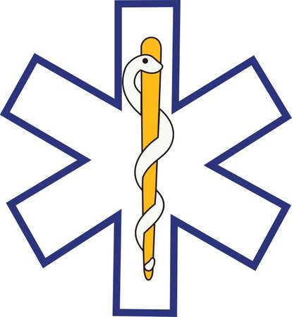 De ster van het leven wordt algemeen erkend als een symbool voor dringende medische respons. Perfect voor scrub overhemd versiering.