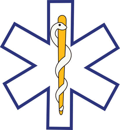 The star of life is widely recognized as a symbol for emergency medical response.  Perfect for scrub shirt embellishment. 版權商用圖片 - 51210935