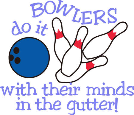 Strike!  Set up the pins its time for bowling.  Can you imagine a better design for a bowling shirt! Illusztráció
