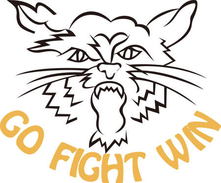 wildcat: Go Wildcats!  This fierce looking mascot in outline is a fantastic way to show some team spirit.