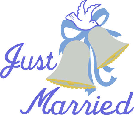 Celebrate love and wedding bells with this lovely design of bows, ribbons and a white dove. Love it on invitations and wedding napkins.