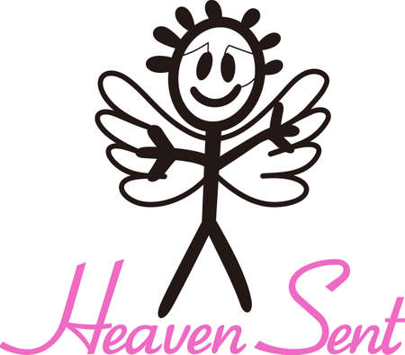 Heaven has sent a special angel!  This super cute stick figure angel is the perfect decoration for nurseries and baby gear.  Perfect for vinyl cuts!