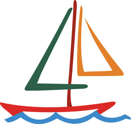 Our colorful sailboat line drawing is a must for the boating crowd.  The simple, yet striking outline design make it a snap to stitch on your favorite sailing jacket. Çizim