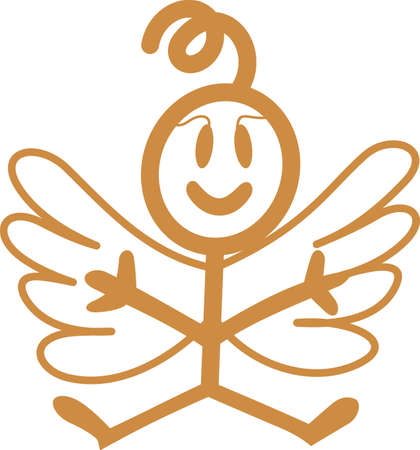 Heaven has sent a special angel!  This super cute stick figure angel is the perfect decoration for nurseries and baby gear.  Use with your vinyl software to quickly create SVG files! Stock Vector - 51211438