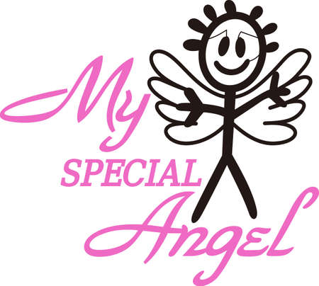 Heaven has sent a special angel!  This super cute stick figure angel is the perfect decoration for nurseries and baby gear.  Use with your vinyl software to quickly create SVG files! Stock Vector - 51211451